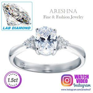 1.5ct Lab Diamond Oval Cut Engagement Ring